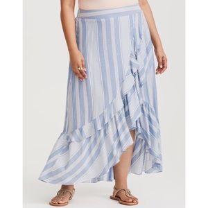 TORRID Striped Faux Wrap Skirt